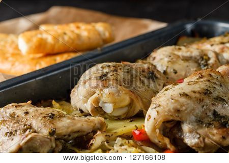 Mediterranean Fried Chicken with Vegetables. Closeup view