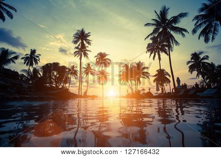 Beautiful sunset at a beach in tropics.