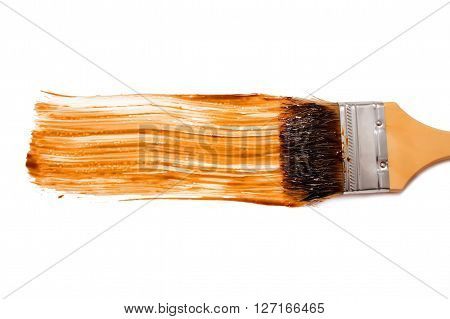 paint brush and dab of balsamic vinegar. balsamic sauce. texture. sample and brush isolated on white background. top view, flat lay