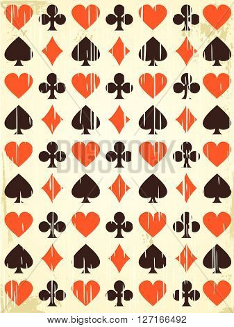 Vector retro background with playing cards symbols.  Endless texture can be used for casino design, web page background, surface and textile textures