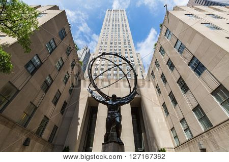 NEW YORK, USA - AUGUST 23, 2015: Exterior views of to the Rockefeller center in Midtown Manhattan at the 5th Av on August 23 2015. Rockefeller Center is a complex of 19 commercial buildings covering 22 acres.