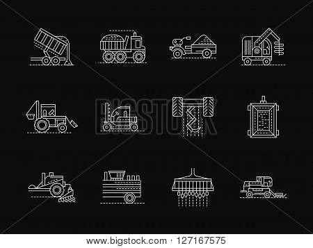 Agricultural vehicles and machinery for crop growing and harvesting, sowing and plowing. Collection of white flat line style vector icons on black. Elements for web design, business, mobile app.