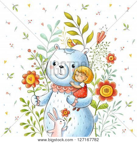 Card with girl in the arms of a bear and cute rabbit in summer  flowers in vector.