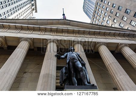 NEW YORK - AUGUST 24, 2015: Views of to the Wall Street and Buildings in the financial district in Manhattan Downtown New York on August 24 2015. Wall Street is an important financial place.