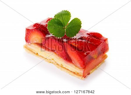 Strawberry pie isolated on  white background.Fruitcake and green leaf.
