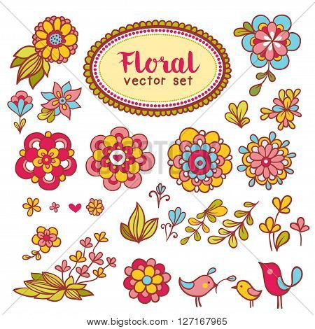 Set of flowers and birds. Vector set with flowers and birds