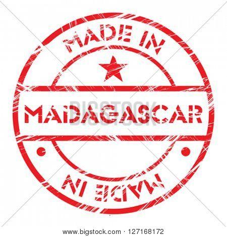Made in Madagascar grunge rubber stamp