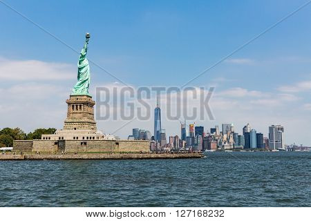 New York - August 24: Views Of Midtown Manhattan From Liberty Island Side On August 24, 2015. This P