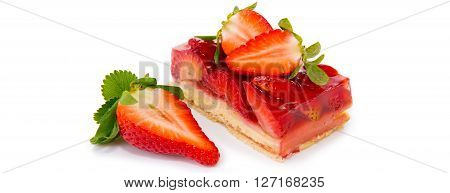Strawberry pie isolated on  white background.Fruitcake and have red juicy strawberry.