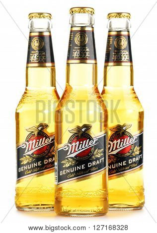Bottles Of Miller Genuine Draft Beer Over White