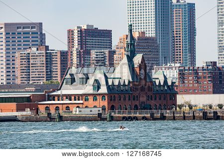 NEW YORK, USA - AUGUST 24, 2015: View of the main building on Ellis Island located between New Jersey and New York Manhattan.