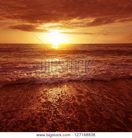Dramatic sunset over the sea.