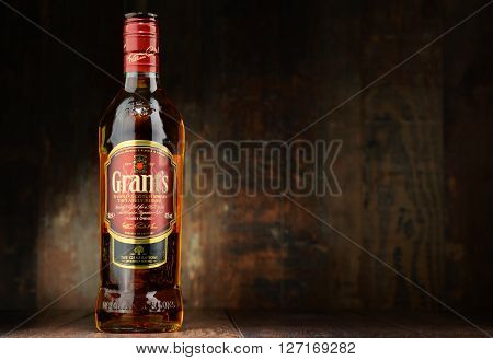POZNAN POLAND - APRIL 23 2016: Grant's is the oldest family-owned blended whisky bottled by William Grant & Sons in Scotland currently sold in over 180 countries.