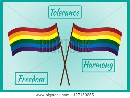 Two LGBT flag on a pole and three frames for text with the words Tolerance Freedom Harmony. Blue background abstraction.