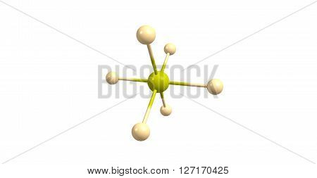 Sulfur hexafluoride is an inorganic, colorless, odorless, non-flammable, extremely potent greenhouse gas which is an excellent electrical insulator. 3d illustration