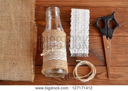 Handmade vase, scissors, burlap, cord, lace. Set for handmade vase. Easy crafts