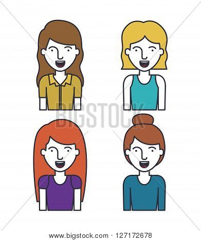 flat line people design, vector illustration eps10 graphic
