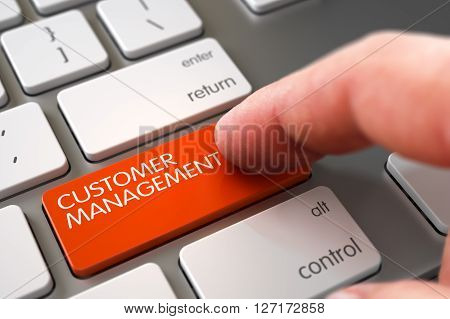 Business Concept - Male Finger Pointing Customer Management Keypad on White Keyboard. Finger Pushing Customer Management Keypad on White Keyboard. 3D Illustration.
