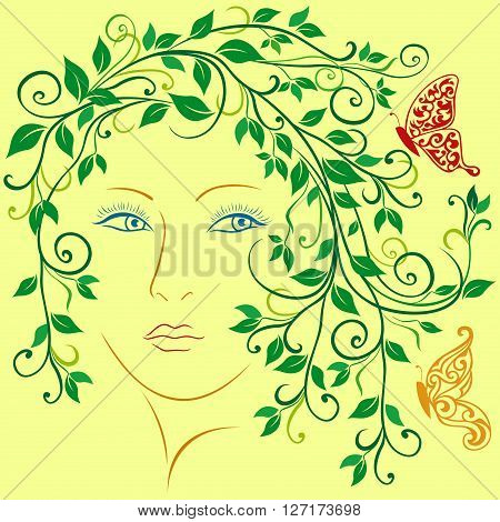 Abstract female portrait with swirl vine twigs leaves and butterflies in hair colorful vector illustration