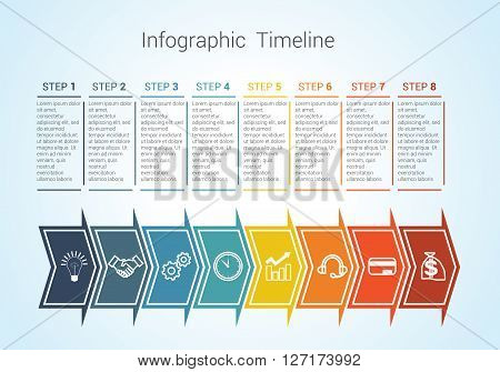 Template Timeline Infographic colored horizontal arrows numbered for eight position can be used for workflow banner diagram web design area chart