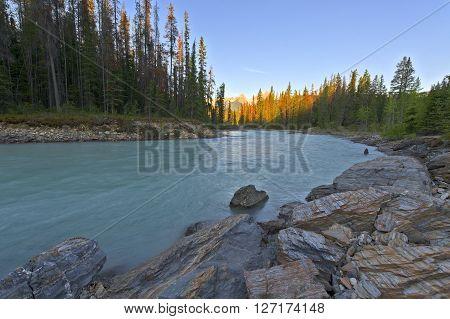 Sunrise on the Kicking Horse River Yoho National Park Alberta Canada