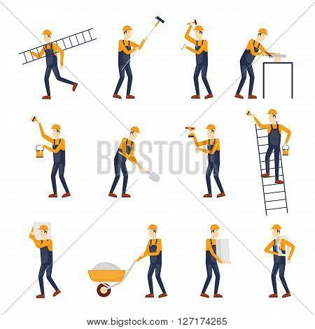 Builder, Repairs, Construction builder in yellow helmet working with different tools. Engineer. Worker Builder. Flat design vector illustration.