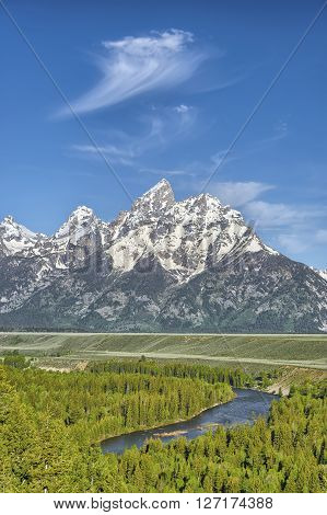 Grand Tetons from Snake River Overlook Grand Tetons National Park Wyoming