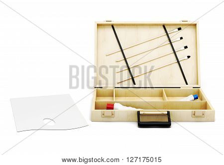 Open the case and painter's palette on white background. Front view. 3d rendering