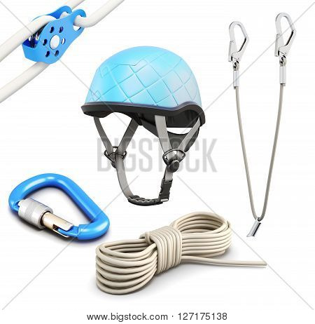 Rock climbing equipment on white background. 3d rendering.