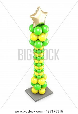 Column of colored balloons on white background. Top view. 3d illustration