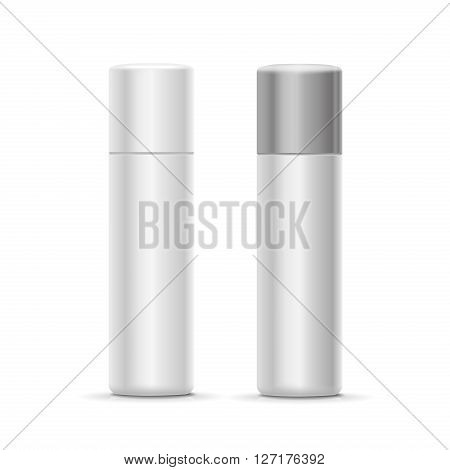 White and silver bottle spray cosmetic deodorant for perfume,  freshener or hairspray. container