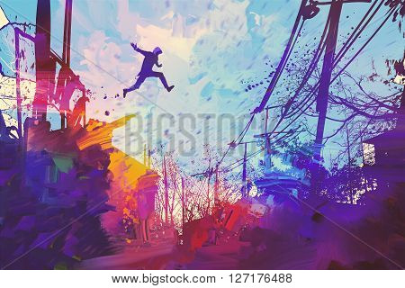 man jumping on the roof in city with abstract grunge, illustration painting
