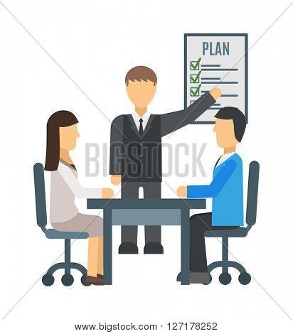 Training staff briefing presentation vector