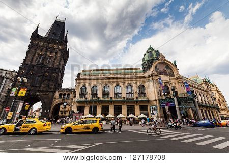 Prague, Czech Republic - July 18:  Exterior Views Of Famous Powder Tower In Of The Old Town Of Pragu
