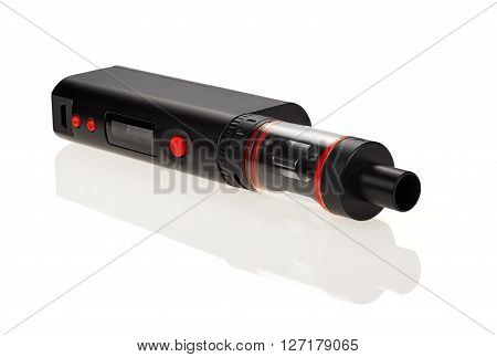 Electronic Cigarette Vaporizer bakomayzer isolated on white background. A battery with a high capacity