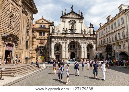 Prague, Czech Republic - July 18:  Exterior Views Of Famous Salvator Church In Of The Old Town Of Pr