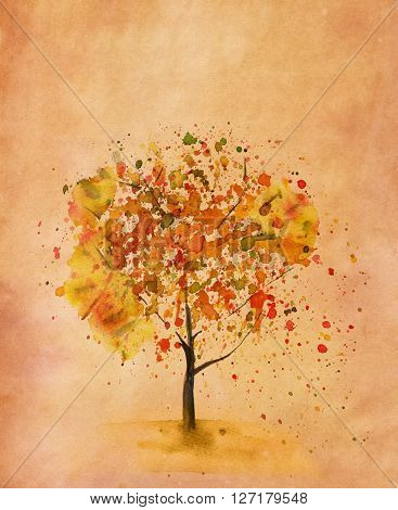 A watercolor tree in autumn hand painted in watercolor on a sheet of paper toned to look like old parchment with a place for text