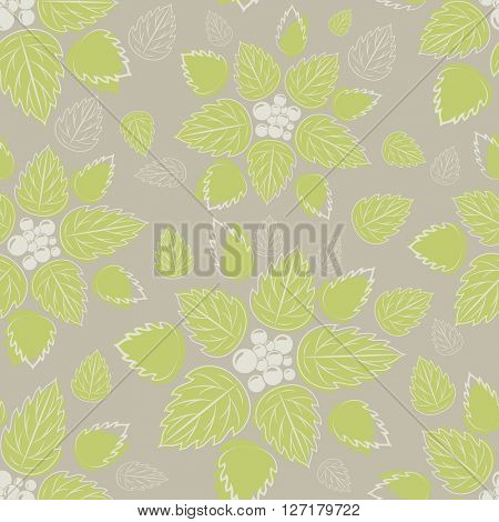 Seamless green leaves on beige background pattern.