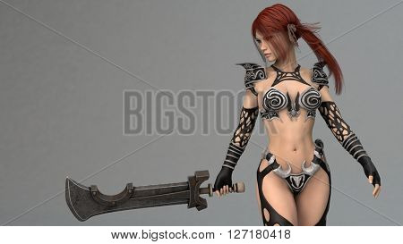 3d illustration of a young warrior woman with red hair