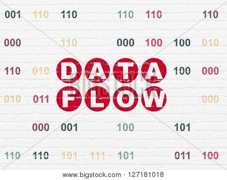 Information concept: Painted red text Data Flow on White Brick wall background with Binary Code