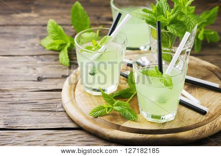 Green Sweet Alcohol Cocktail With Mint And Ice