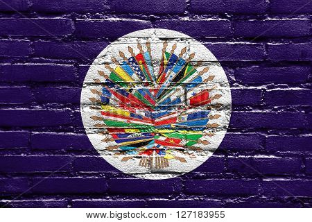 Flag Of  Organization Of American States, Painted On Brick Wall