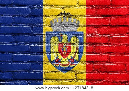 Flag Of Bucharest, Painted On Brick Wall