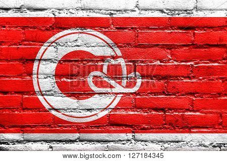 Flag Of Calgary, Painted On Brick Wall