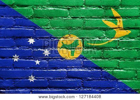 Flag Of Christmas Island, Painted On Brick Wall
