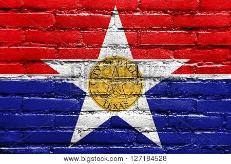 Flag Of Dallas, Texas, Painted On Brick Wall