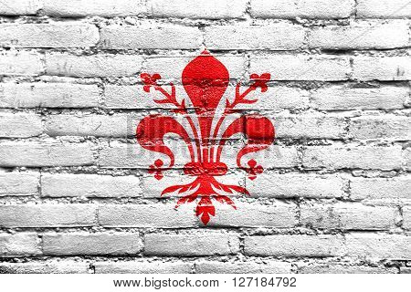 Flag Of Florence, Painted On Brick Wall