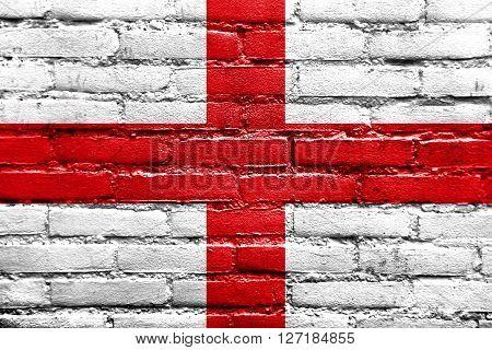 Flag Of Genoa, Painted On Brick Wall