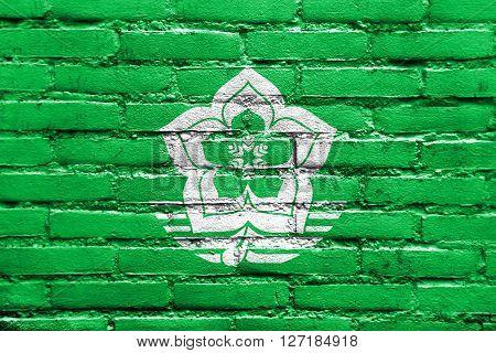 Flag Of Harbin, China, Painted On Brick Wall