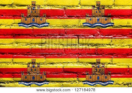 Flag Of Ibiza, Painted On Brick Wall